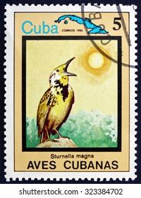 CUBA - CIRCA 1983: a stamp printed in the Cuba shows The Eastern Meadowlark, Sturnella Magna, Bird, circa 1983