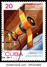 CUBA - CIRCA 1983: A stamp printed in Cuba shows flight of orbital manned space station Union , the study of near-Earth space , circa 1983