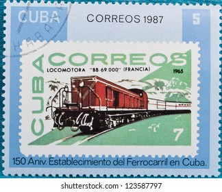 CUBA - CIRCA 1987: A stamp printed in Cuba, presents the 150th anniversary of Cuban railways , circa 1987