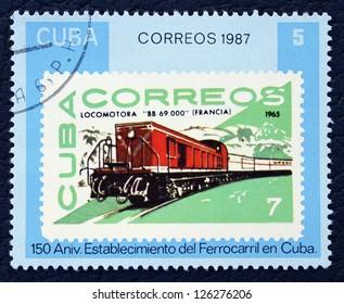 CUBA - CIRCA 1987: A stamp printed in the Cuba, shows old locomotive, circa 1987