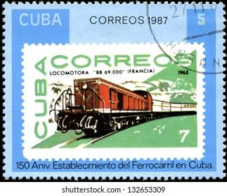 CUBA - CIRCA 1987: A Stamp printed in the Cuba shows antique locomotive, Cuban Railway, 150th anniversary, series, circa 1987