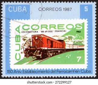 """Cuba - CIRCA 1987: A Stamp printed in the Cuba shows a series of images """"Old trains"""", circa 1987"""