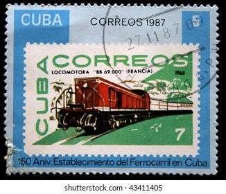 CUBA - CIRCA 1987: A stamp printed in Cuba shows locomotive BB-69, circa 1987