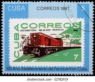 CUBA - CIRCA 1987: A stamp printed in Cuba shows engine, circa 1987