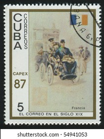 CUBA - CIRCA 1987: stamp printed by Cuba,  shows early p.o., automobile and France type, circa 1987.