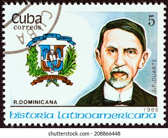 """CUBA - CIRCA 1988: A stamp printed in Cuba from the """"Latin American History (3rd series)"""" issue shows Coat of Arms and Juan Pablo Duarte (Dominican Republic), circa 1988."""