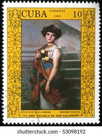 CUBA - CIRCA 1988: A stamp printed in Cuba shows draw by artst Armando Menocal - Portrait of Elena Herrera, circa 1988