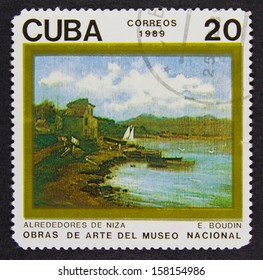 CUBA - CIRCA 1989: A stamp printed in Cuba, shows Outskirts of Nice by Eugene Louis Boudin, Paintings in the National Museum Series, circa 1989.