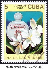 "CUBA - CIRCA 1989: A Stamp shows image of a from the MARIPOSA series ""DIA DE LAS MADRES"", circa 1989"