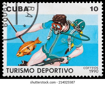 CUBA - CIRCA 1990: A stamp printed in Cuba dedicated to sports tourism, shows Spearfishing, circa 1990