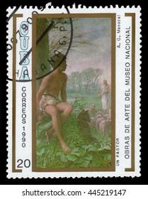 CUBA - CIRCA 1990: a stamp printed in Cuba shows Pastor by Armando Menocal, National Museum, Havana, circa 1990