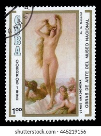 CUBA - CIRCA 1990: a stamp printed in Cuba shows Venus Anadiomena by Armando Menocal, National Museum, Havana, circa 1990