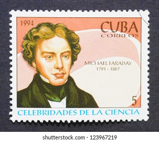 CUBA � CIRCA 1994: a postage stamp printed in Cuba showing an image of english scientist Michael Faraday, circa 1994.