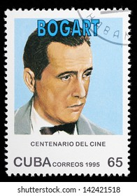 CUBA - CIRCA 1995: A stamp printed in Cuba shows famous american  actor Humphrey Bogart; series,  circa 1995