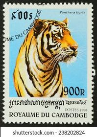 CUBA - CIRCA 1998 : A stamp printed in CUBA shows image of tiger (Panthera tigris) , 1998