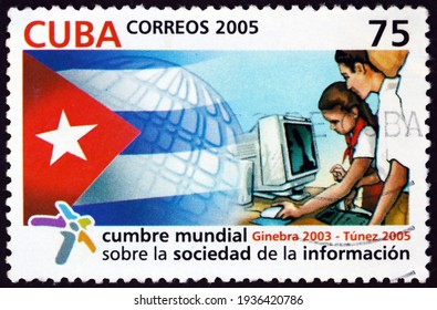 CUBA - CIRCA 2005: a stamp printed in Cuba dedicated to World summit on the information society, Tunis, circa 2005