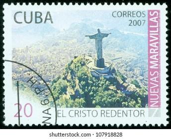 CUBA - CIRCA 2007: A stamp printed in cuba shows landscape of Rio DE janeiro, circa 2007