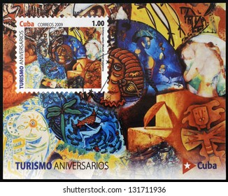 CUBA - CIRCA 2009: A stamp printed in Cuba dedicated to tourism shows mural by several artists in the Hotel Inglaterra, circa 2009