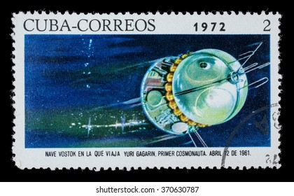 """CUBA - CIRCA1972. Postage stamp dedicated to the first manned flight into space. Astronaut Yuri Gagarin on April 12, 1961, the spacecraft """"Vostok"""""""