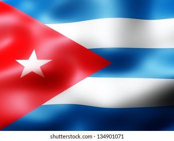 Cuba country flag 3d illustration