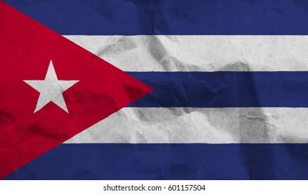 Cuba crumpled paper flag