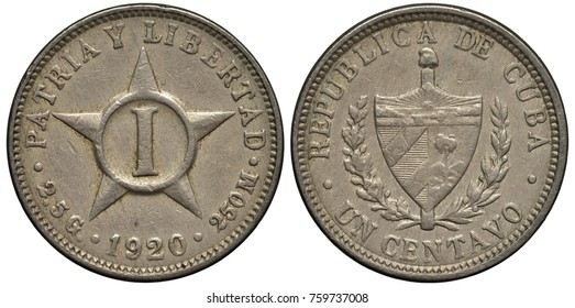 Cuba Cuban coin 1 one centavo 1920, Roman digit of value within star, arms, shield flanked by sprigs,