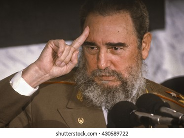 CUBA - FEBRUARY 1989: Fidel Castro, President of Cuba, during news conference.