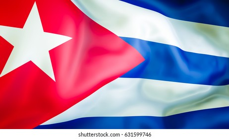 Cuba Flag 3D Waving Design Red White And Blue Cuban