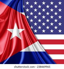 Cuba flag America flag