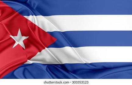 Cuba Flag. Flag with a beautiful glossy silk texture.