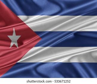 Cuba flag. Flag with a beautiful glossy silk texture. 3D illustration.