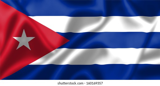 Cuba flag blowing in the wind. Background texture.