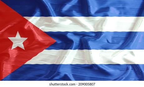 cuba flag closeup of ruffled