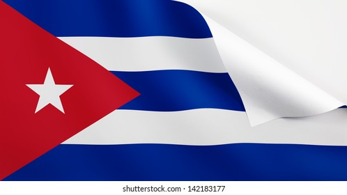 A Cuba flag with a curl at the corner with blank space for text.