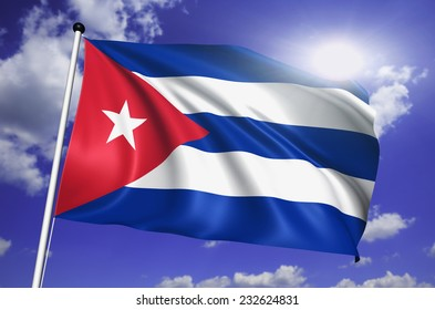 Cuba flag with fabric structure against a cloudy sky