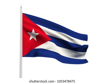 Cuba flag floating in the wind with a White sky background. 3D illustration.