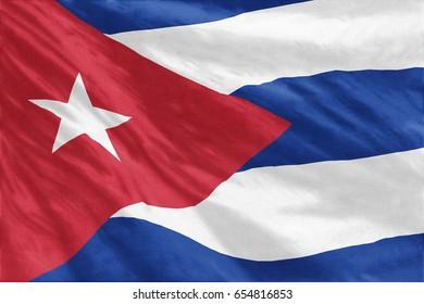Cuba Flag full-frame close-up