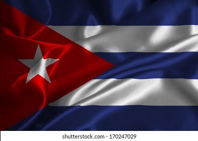 Cuba flag on satin texture.