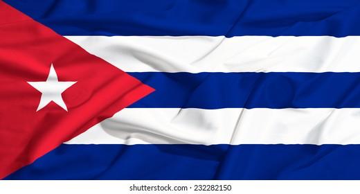 Cuba flag on a silk drape waving