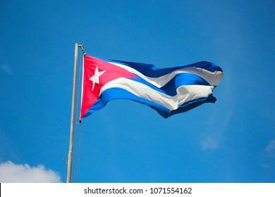 Cuba flag over the sky