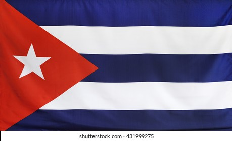 Cuba Flag real fabric seamless close up