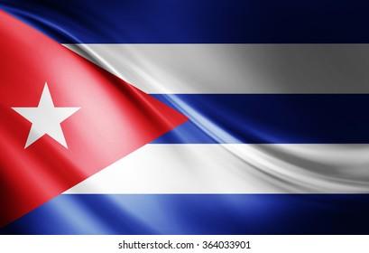 Cuba flag of silk