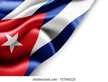 Cuba flag of silk with copyspace for your text or images and white background -3D illustration