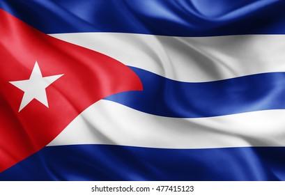 Cuba flag of silk-3D illustration