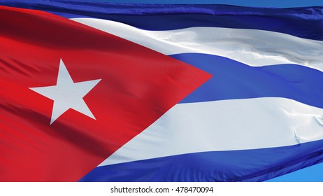 Cuba flag waving against clean blue sky, close up, isolated with clipping path mask alpha channel transparency