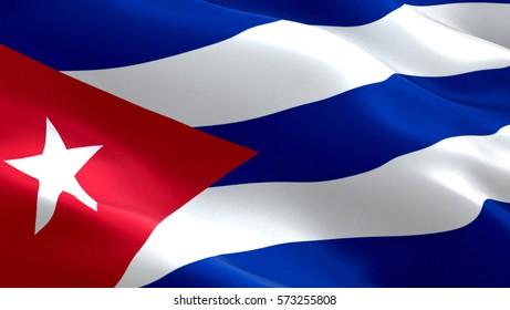 Cuba flag. Waving colorful Cuba flag