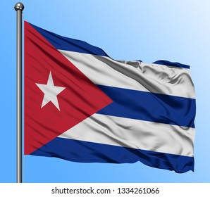 Cuba flag waving in the deep blue sky background. Isolated national flag. Macro view shot.