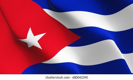Cuba flag waving on wind.