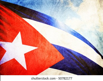 Cuba flag waving in the wind - grunge style
