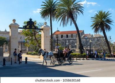 Cuba Havan Feb 15 2018: View of Old Havana with beautiful old buildings along the bay